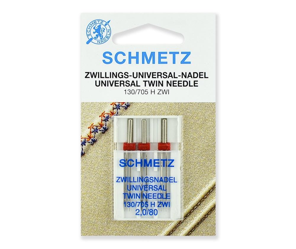 Иглы Schmetz двойные стандартные № 80/2.0, 3 шт.