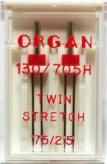 Иглы Organ двойные стрейч № 75/2.5, 2 шт.