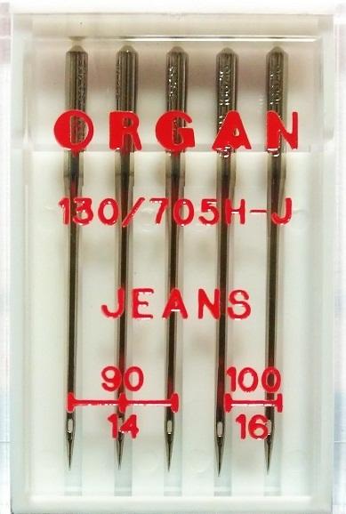 Иглы Organ джинс № 90(3),100(2), 5 шт.