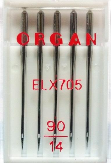Иглы Organ для плоскошовных машин № 90, 5 шт.