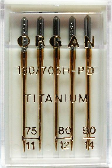 Иглы Organ Titanium № 75(2), 80(2), 90(1), 5 шт.
