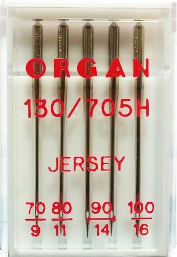 Иглы Organ джерси № 70, 80, 90(2),100, 5 шт.