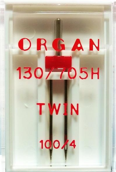 Иглы Organ двойные стандартные № 100/4.0, 1 шт.