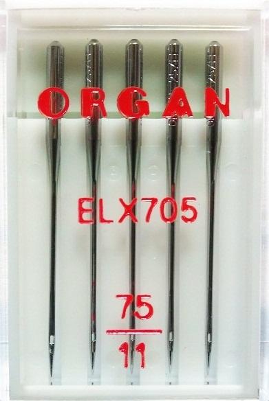 Иглы Organ для плоскошовных машин № 75, 5 шт.