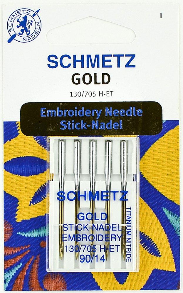 Иглы Schmetz вышивальные Gold № 90, 5 шт.
