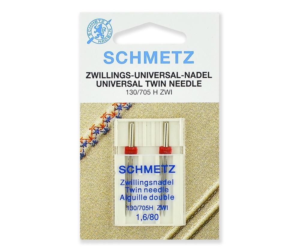 Иглы Schmetz двойные стандартные № 80/1.6, 2 шт.