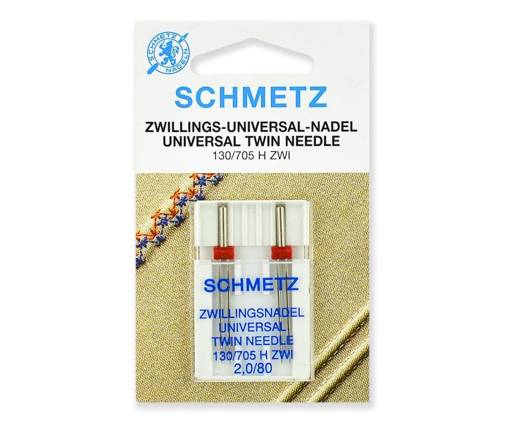 Иглы Schmetz двойные стандартные № 80/2.0, 2 шт.