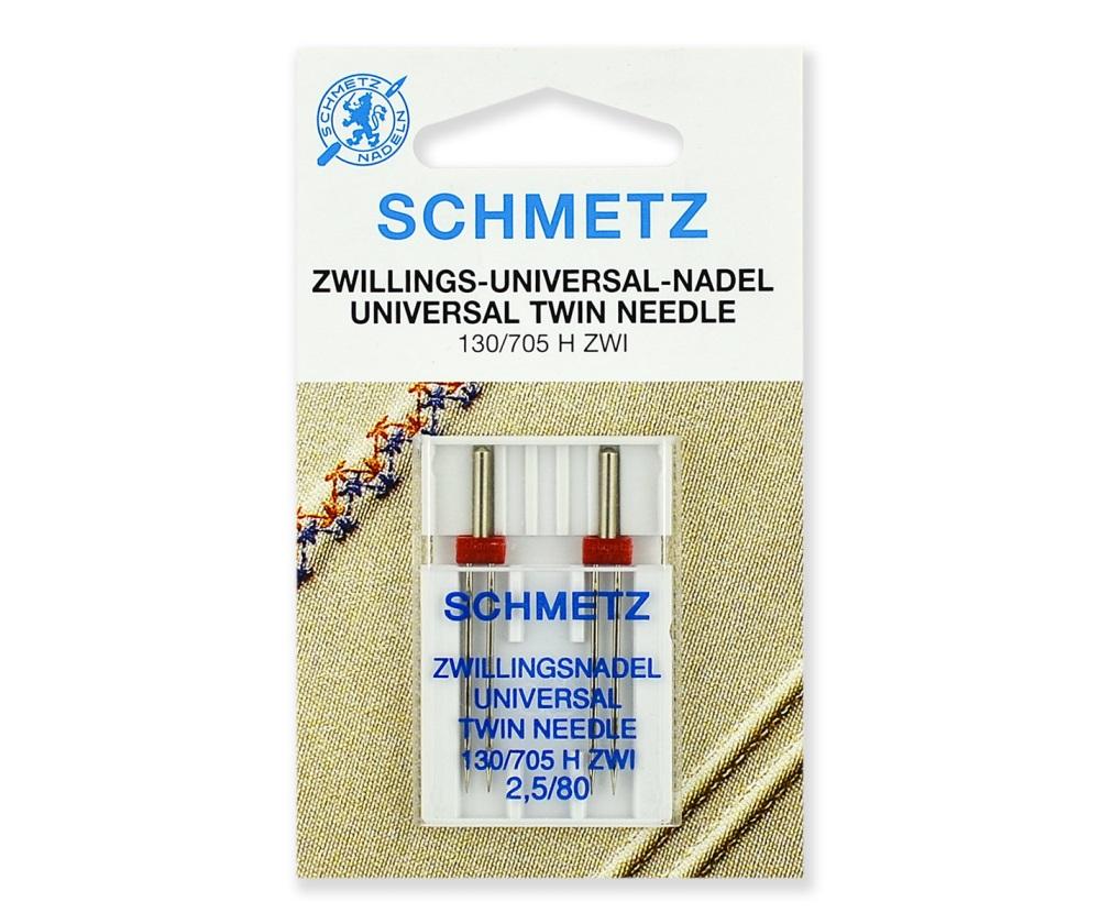 Иглы Schmetz двойные стандартные № 80/2.5, 2 шт.
