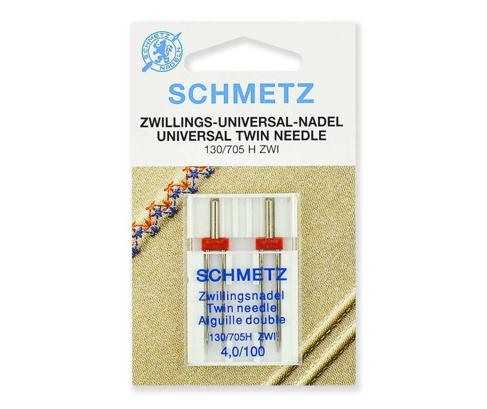 Иглы Schmetz двойные стандартные № 100/4.0, 2 шт.