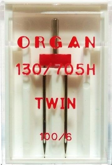 Иглы Organ двойные стандартные № 100/6.0, 1 шт.
