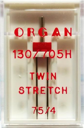 Иглы Organ двойные стрейч № 75/4.0, 1 шт.