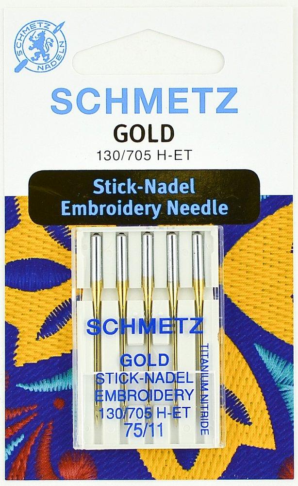 Иглы Schmetz вышивальные Gold № 75, 5 шт.